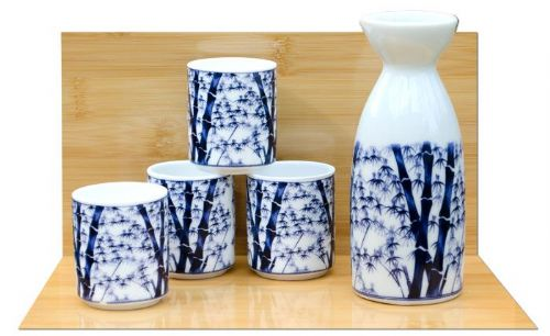 Bamboo Sake set on white - Japanese 4 cups